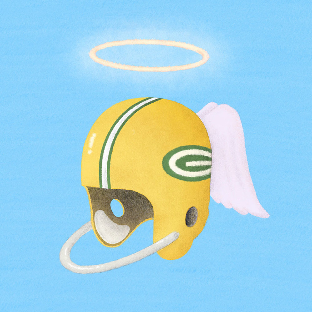 """The New York Times: """"Every Two Months, One of My Teammates Dies"""" – The players of the 1960's Green Bay Packers were seen as legends, but even legends are mortal. *I was not commissioned for this editorial illustration."""