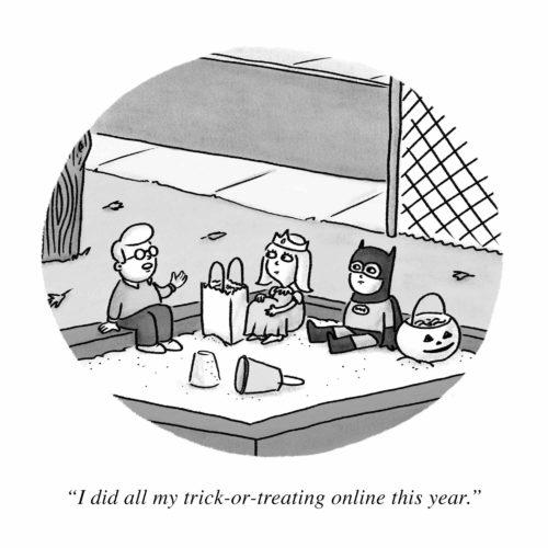 Online Trick Or Treating Cartoon
